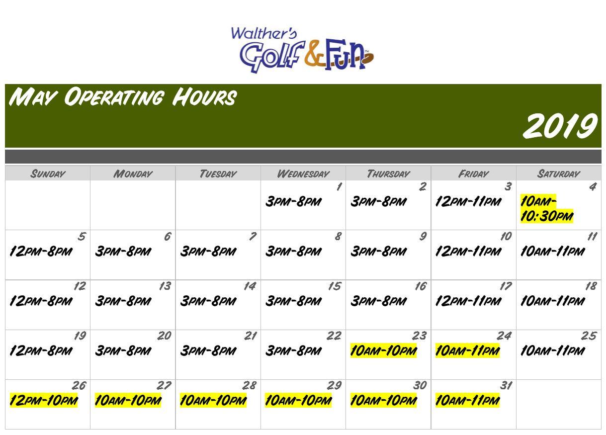 may 2019 hours calendar